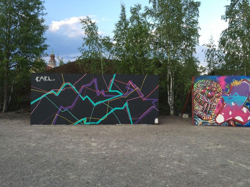Graffitiväggar vid Falun Skatepark
