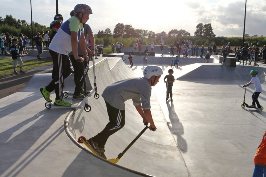 Kickbike i Kävlinge skatepark.