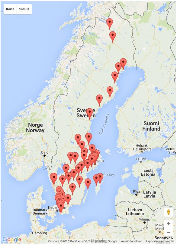 karta över skateparker och skatehallar i sverige.