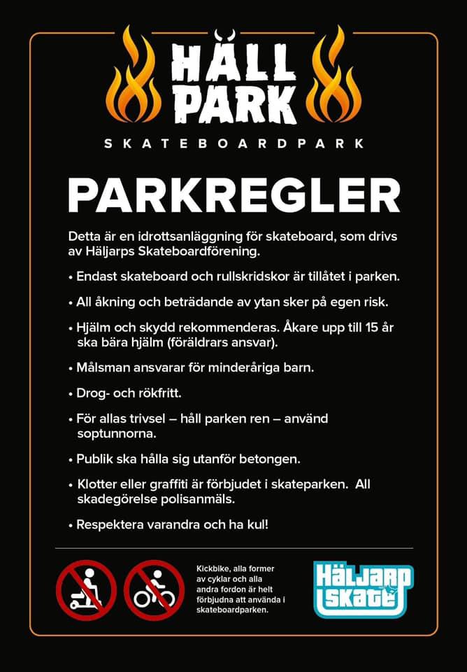 Parkregler för Hällpark skateboardpark i Häljarp.