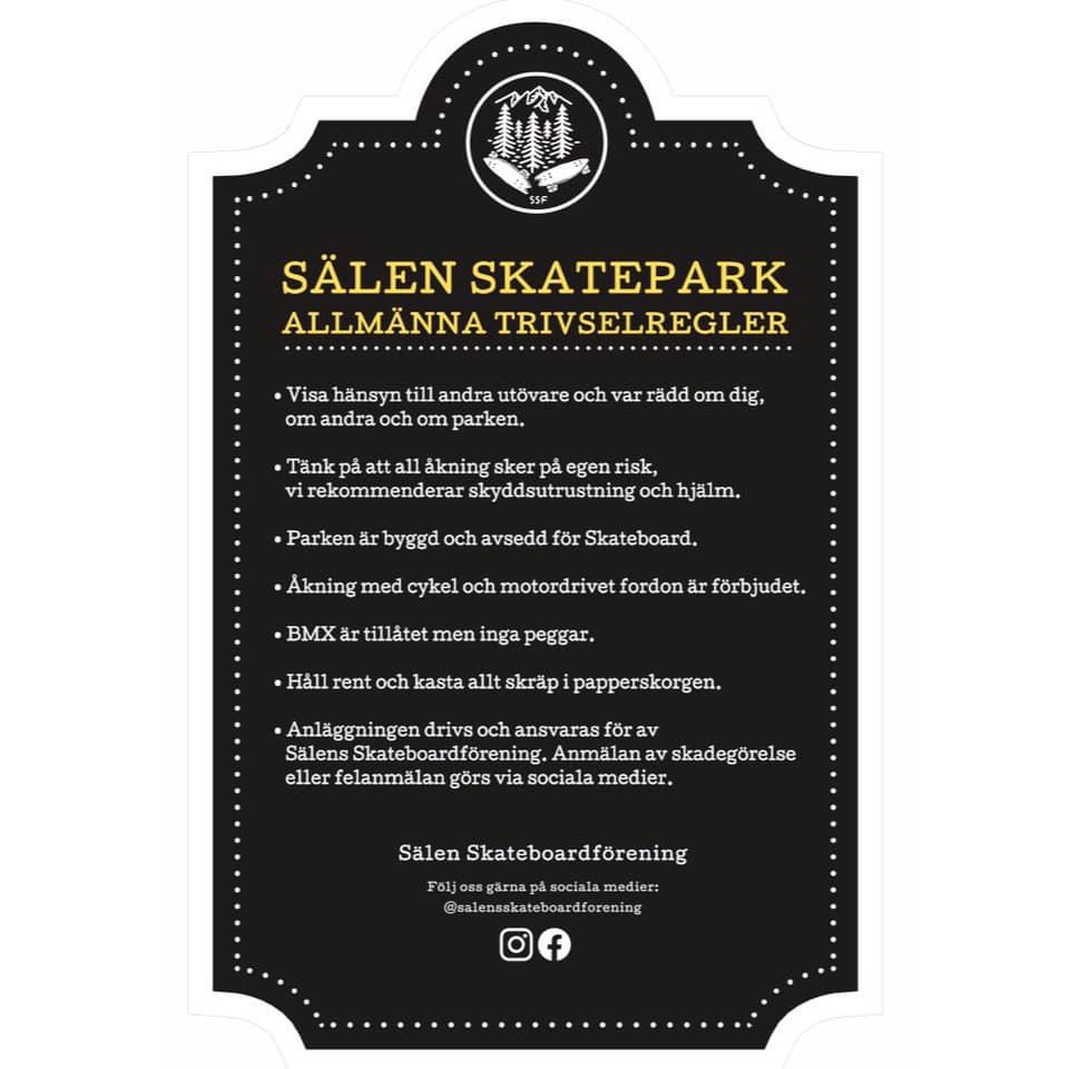 Allmänna trivselregler för Sälen skatepark.